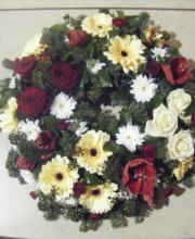 burgondy and golden wreath